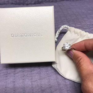 Platinum Clad Diamonique Solitaire 3c!